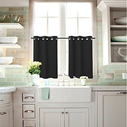 Nicetown Functional Thermal Insulated Blackout Eyelet Curtain Panel Set for Bedroom, 2-Pack Tiers,W29 x L36-Inch, Black