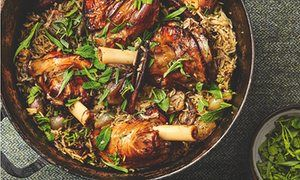 Yotam Ottolenghi's Greek lamb shanks with rice and lemon.