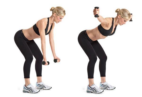Exercícios para os braços - Elevação lateral Pode fazer esse em pé ou sentada. Abra as pernas, flexione um pouco os joelhos e dobre o tronco para frente. Segure os halteres com a palma da mão para frente e levante até a linha do ombro, contraindo o abdômen. Volte a abaixa-los devagar.  Letícia Vasconcellos,  personal trainer da Bodytech do Esporte Clube Pinheiros, aconselha fazer essa lista de exercícios pelo menos 3 vezes por semana, em dias alternados. Fazendo 3 séries com 15