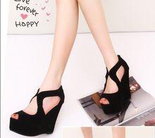 ICOIN!! 2014 Мода Насос Клинья на высоком каблуке с Открытым Носком Платформа Молнии Обувь Повязки Черные Сандалии Для Женщин(China (Mainland))