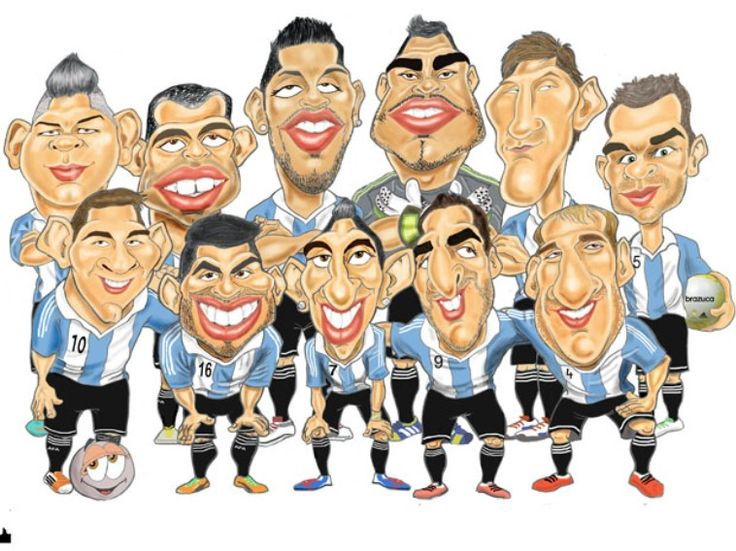 caricaturas de jugadores mundial 2014 Argentina