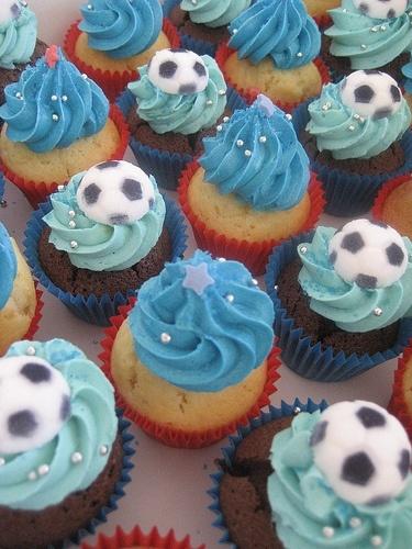 Blue Cream Soccer Cupcakes