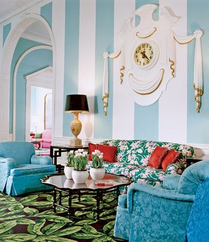 Oh, Dorothy, you've done it again!  As an interior designer, her groundbreaking color combinations, broad stripes, wide use of chintz and plaster moldings contributed to a look which became synonymous with the Dorothy Draper name and the style that become known as Hollywood Regency