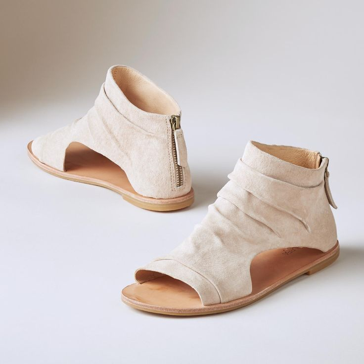 FALLON SANDALS -- An architectural silhouette is softened by relaxed,  slouched suede in these must-have Koolaburra sandals. Leather lined. Whole  sizes 6 to