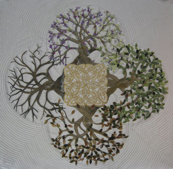 Celtic Tree of Life | VERY cool concept. Could put everyone in their birth season OR could have all the aspects moving left to right - which season to start? Layer the seasons or have them go vertical starting with fall, then a slice of winter bare, shoot up spring and flower with summer with Celtic knots running through center of the tree