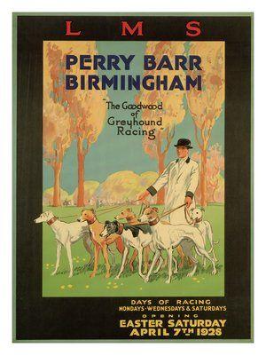 greyhound racing perry barr birmingham lms railway travel poster1928