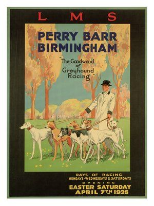 greyhound racing perry barr birmingham lms railway travel poster1928
