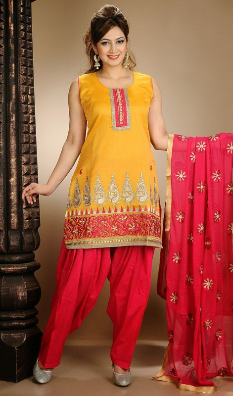 Yellow and Red Chanderi Salwar Dress Price: Usa Dollar $96, British UK Pound £57, Euro71, Canada CA$104 , Indian Rs5184.