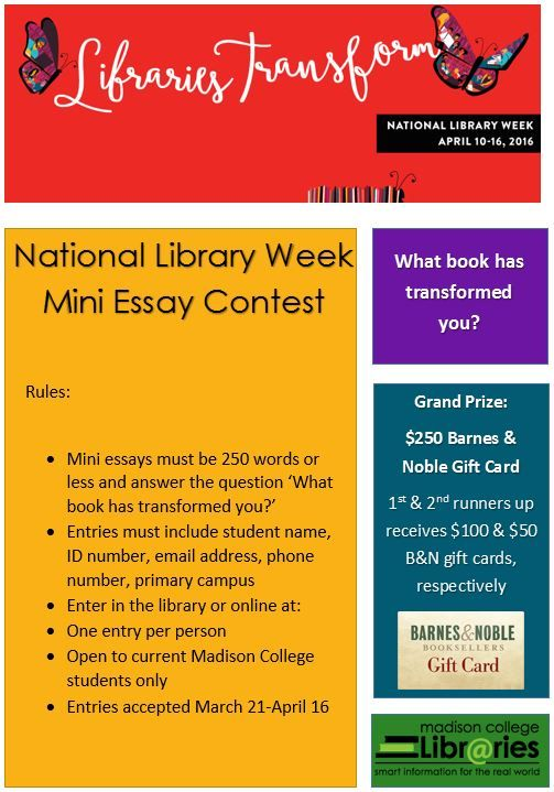 national library week essay For national library week, gca staff members share some of their favorite books.