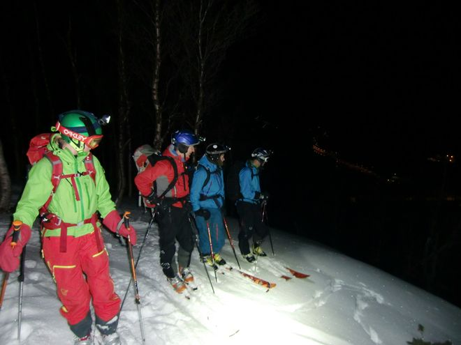 In December we use head lamp while skiing. Langfjord, Finnmark. Alta Norway