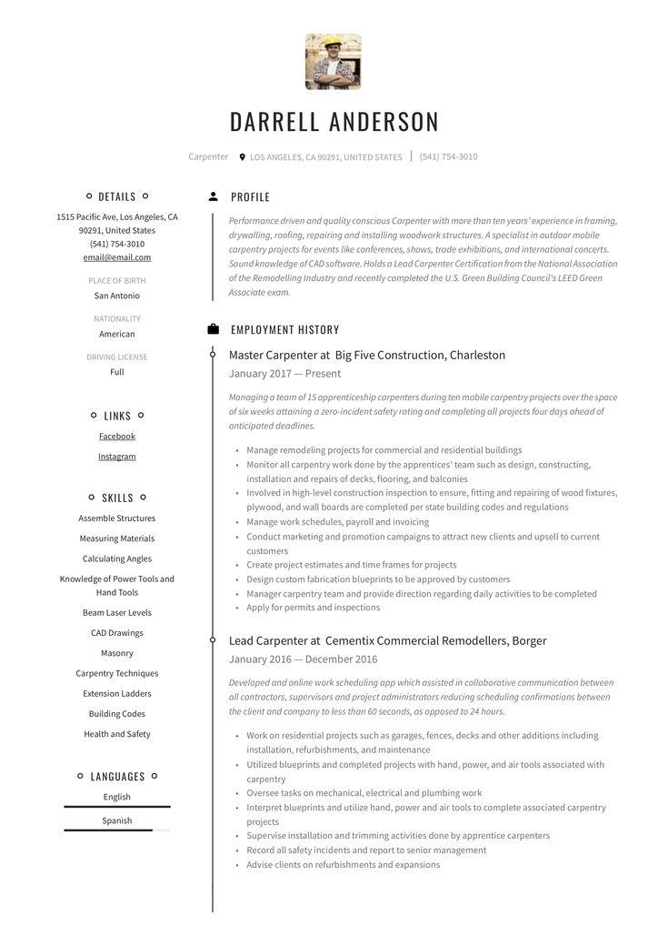 Carpenter resume example resume examples free resume