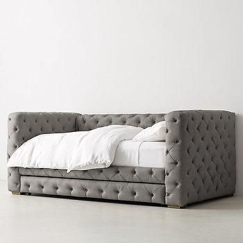 Gray All Around Tufted Velvet Trundle Daybed | Daybed with ...