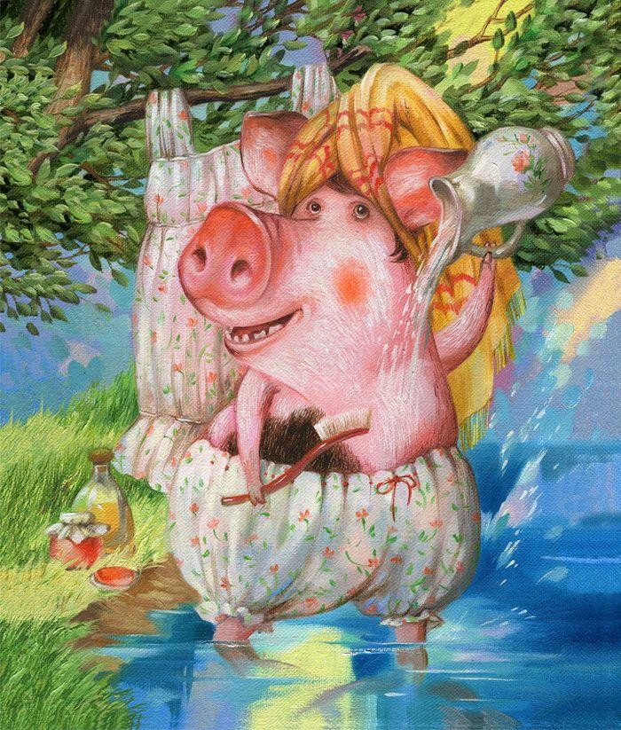 Лет женщине, открытки свинок