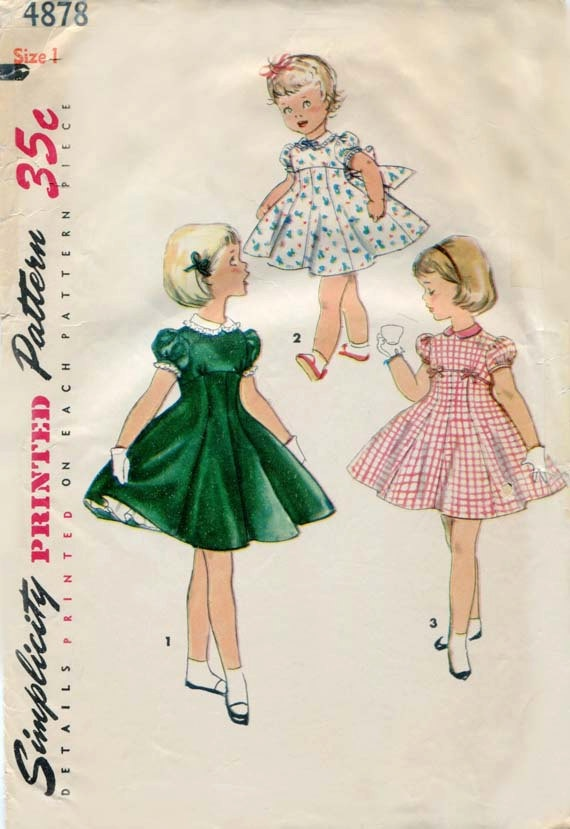 #Vintage #Dress Pattern Simplicity 4878 1950s Toddler Girls Dress For Special Occasions Size 1 via Etsy.