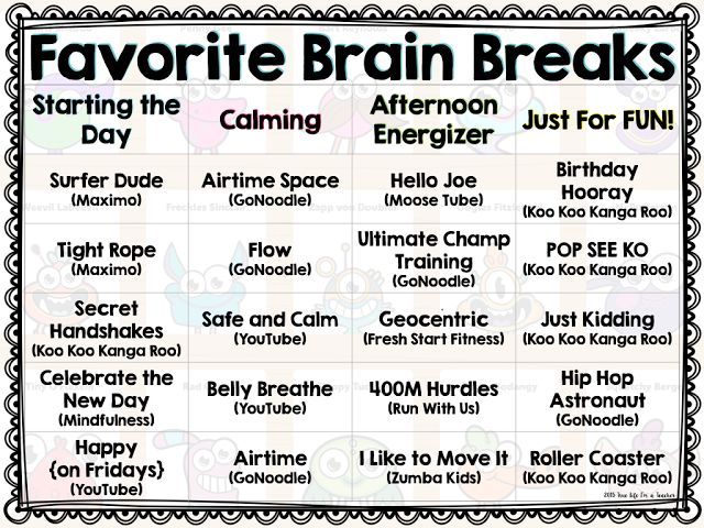 Anyone else love brain breaks? I know I sure do! I can't imagine the school day without them ! They energize, calm, de-stress, and give our ...