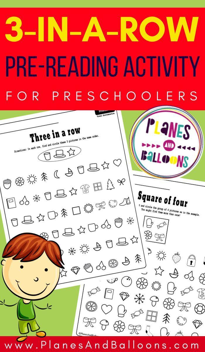Three In A Row Preschool Activity Pre Reading Activities Preschool Pre Reading Activities Preschool Activities