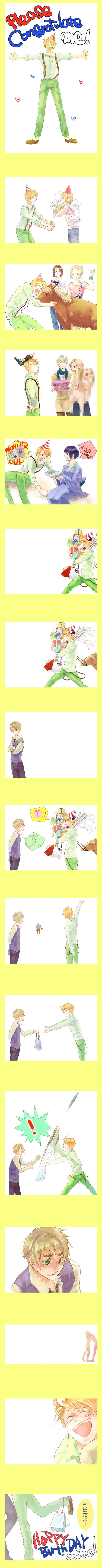 4th of July Party -  こんもり - Hetalia - America / England ...~... What was in the bag from England...?  A photo album. :)