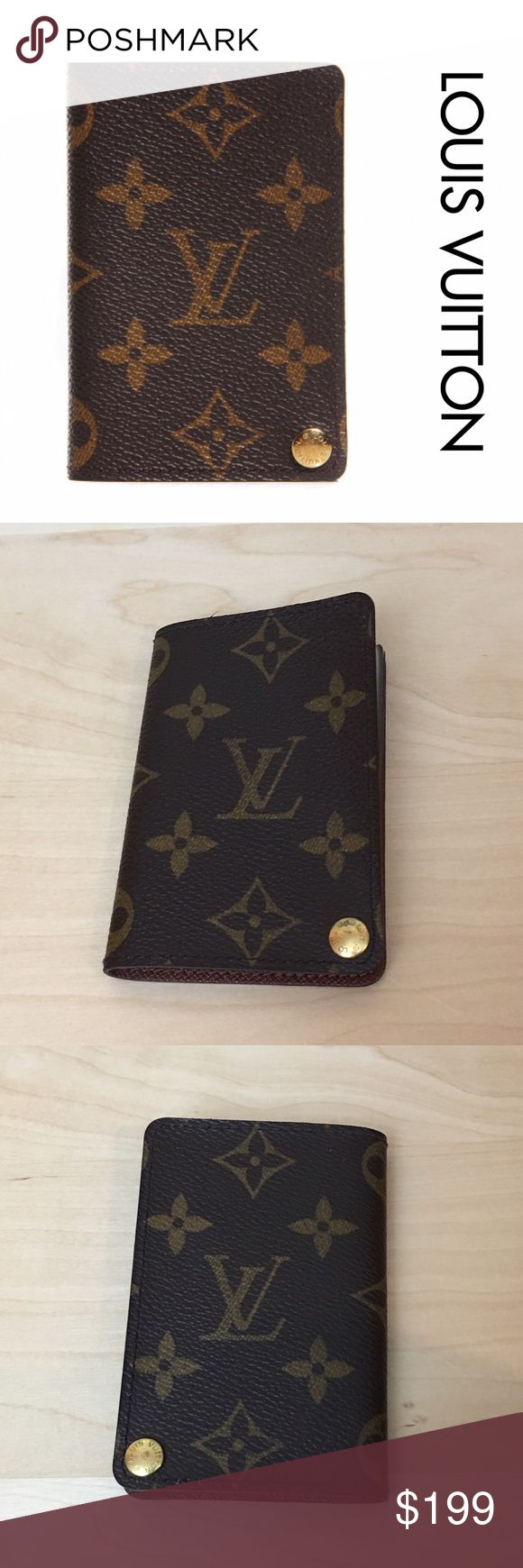"Authentic Louis Vuitton Card Wallet 100% Authentic Louis Vuitton card wallet. Has 7 plastic pouches inside each one carries 2 cards. Come with a brand new set of plastic pouches to replace the old ones. Measures 3"" x 4"". Louis Vuitton Bags Wallets"
