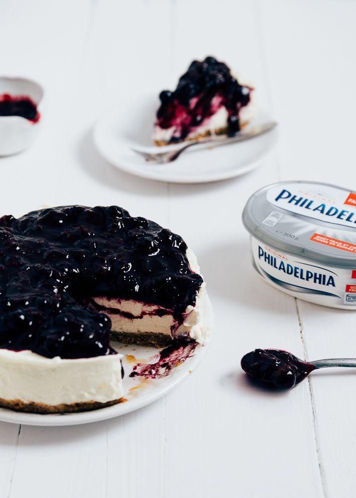 Superlekker recept voor een no bake lemon blueberry cheesecake.