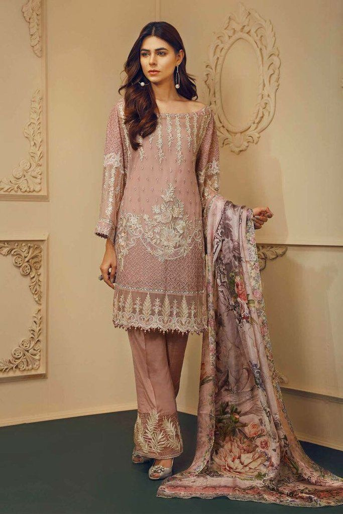 c7289d4235 Pakistani Beautiful Chiffon Dress by Chantell Jasmine in Light Pink Color  Online at Nameera by Farooq, Embellished with Threads and Tilla Embroidery.