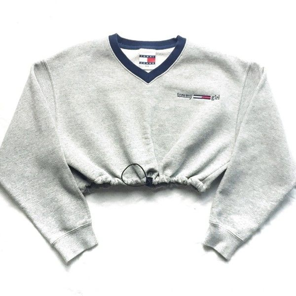 Vintage Reworked Tommy Girl Crop Sweatshirt ($45) ❤ liked on Polyvore featuring tops, hoodies and sweatshirts