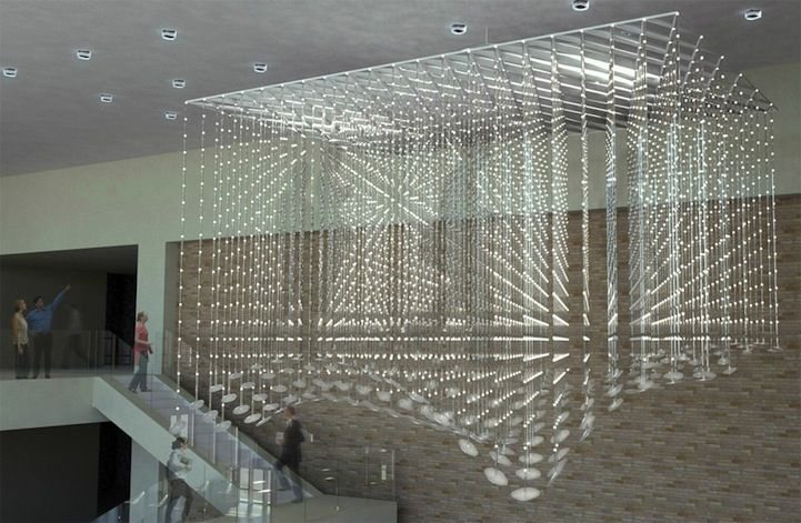 Memory Cloud: installation of 4,000 strands of LED nodes that create 3D silhouettes that float across a matrix of light. A collab by Re:site and METALAB