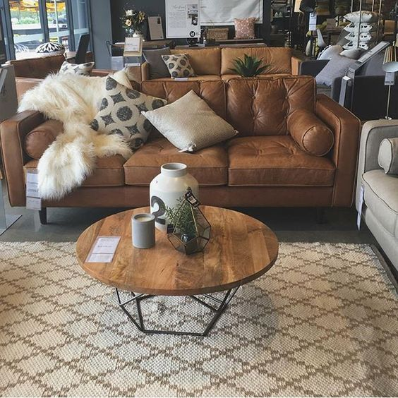 Wooden round coffee table design