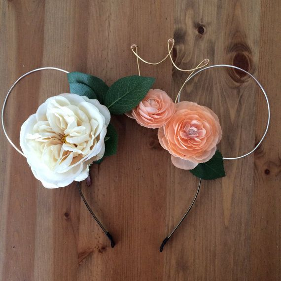 Wire mouse ears, mickey ears, wire ear headband, flower headband, tiara crown, minnie flower crown