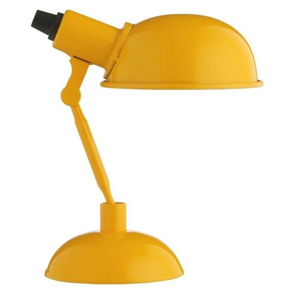 TOMMY Yellow metal desk lamp ($23) ❤ liked on Polyvore featuring home, lighting, desk lamps, metal lamp, yellow lights, round lamp, metal desk lamp and yellow desk lamp