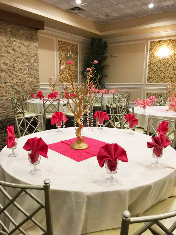 Engagement Party Table Setup Red Theme Gold Tree Centerpiece Engagement Party Table Table Decorations Engagement Decorations