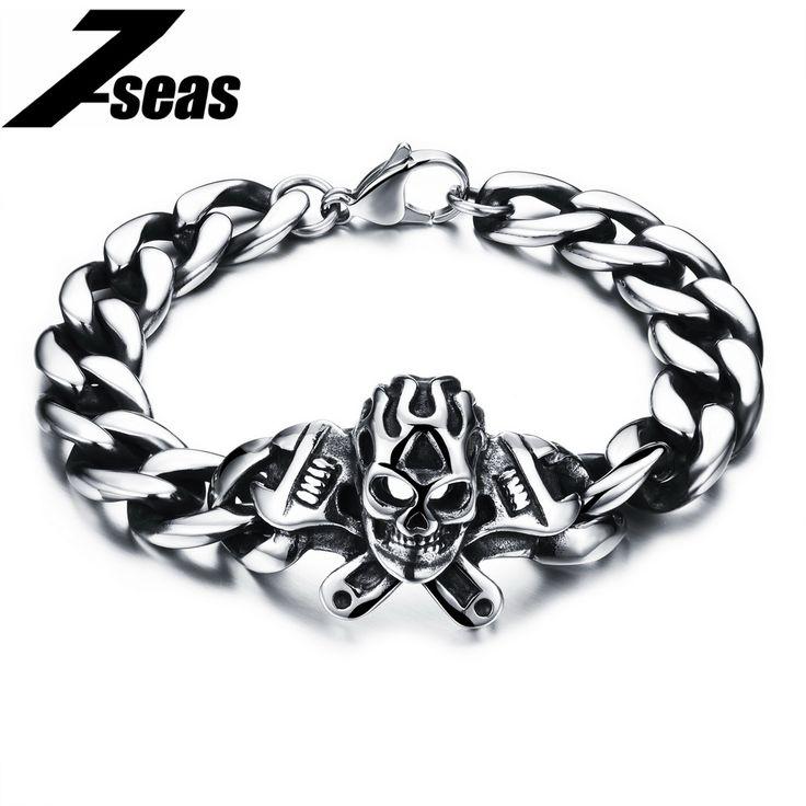 Punk Skull Stainless Steel Bracelet Big Heavy Men Bracelet Biker Motorcycle Hand Chain Jewelry For Best Friend,JM801