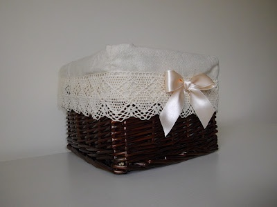 Wicker basket with lace and ribbon