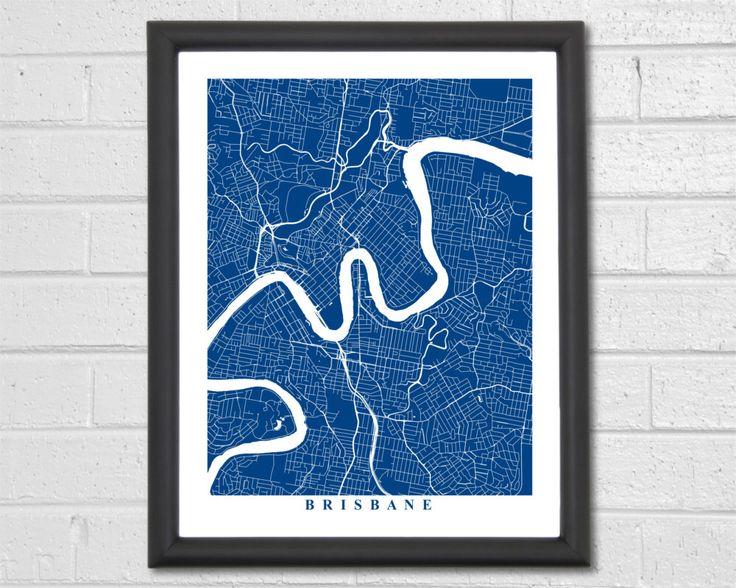 Wedding Gift Ideas Brisbane : Brisbane Map - Customized Map - Australia - Wedding Gift - Brisbane ...