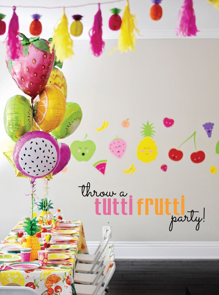 Throw a cute and colorful tutti frutti party!