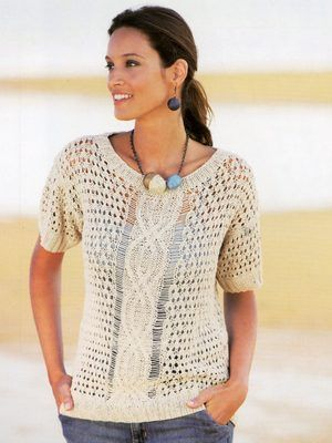 Free knitting pattern leaflet from Katia for a beautiful summer top using the...