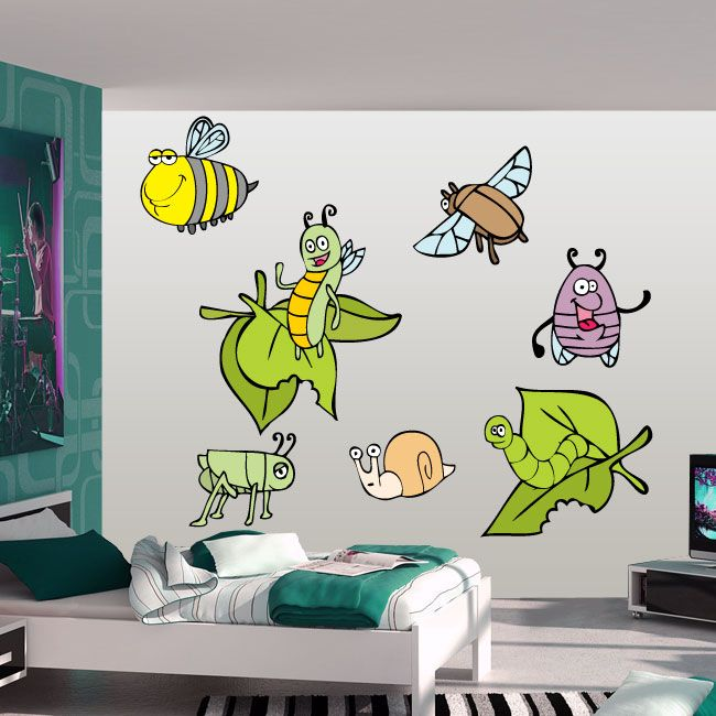Lovely Bugs Wall Decals Bugs Insects And Leaves Wall Decal Cheap Wall Decals