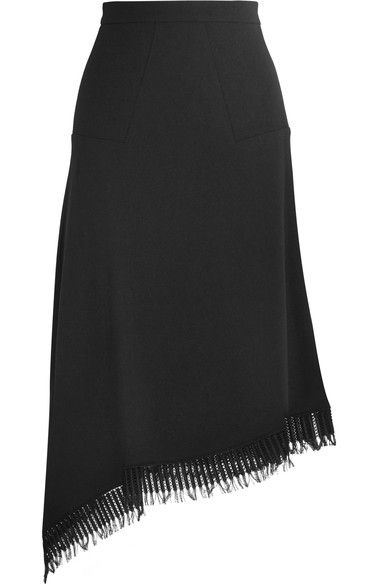 Roland Mouret - Tarring Macramé Lace-trimmed Asymmetric Wool-crepe Skirt - Black - UK10