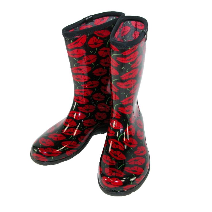 Sloggers Women's Red Poppies Rain Boots