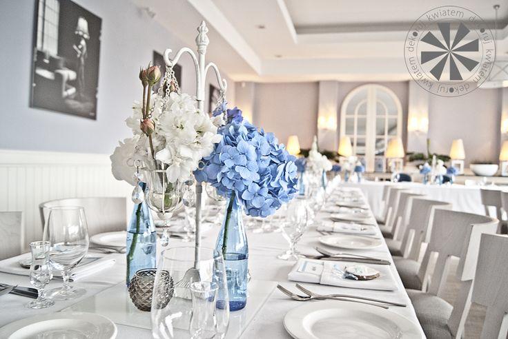 dekoracje weselne, hortensja, ostróżka