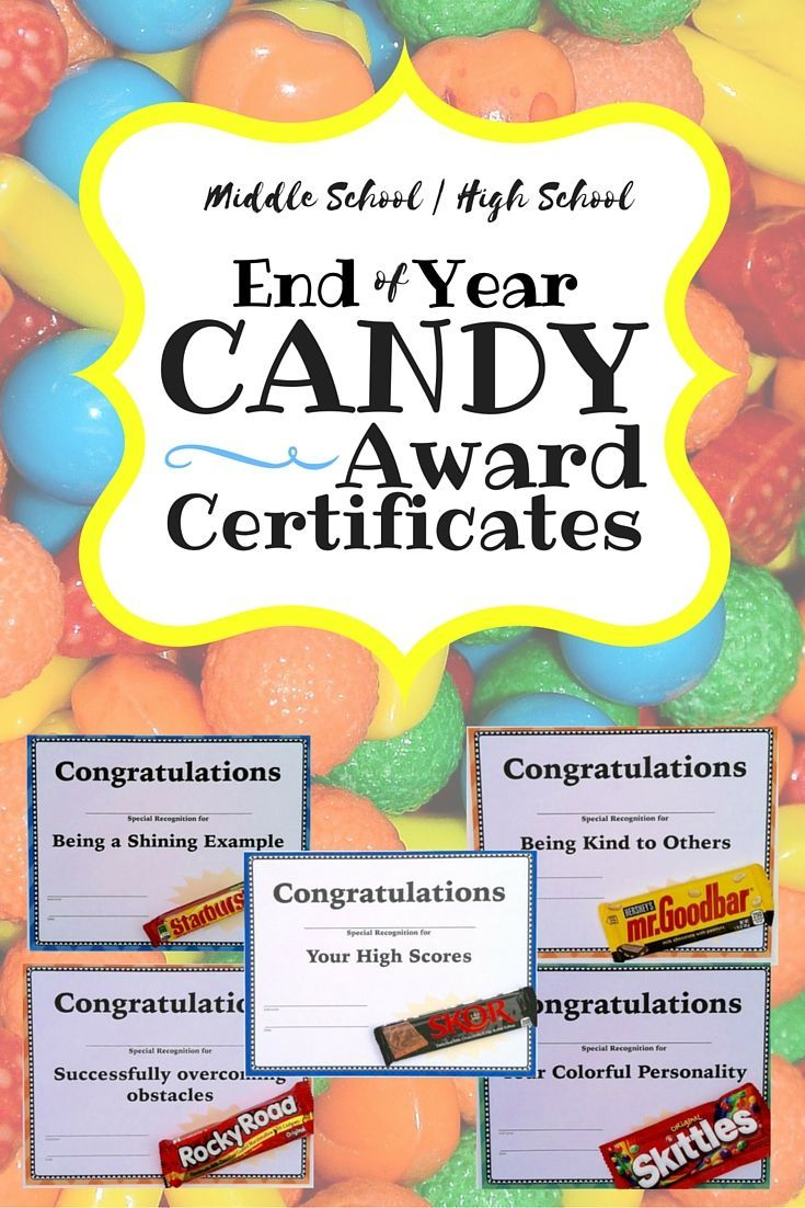 Candy Award Certificates for the end of the year for middle and high school students. 25 different awards that each go with a popular Color and in black and white. Two sizes. Editable! $