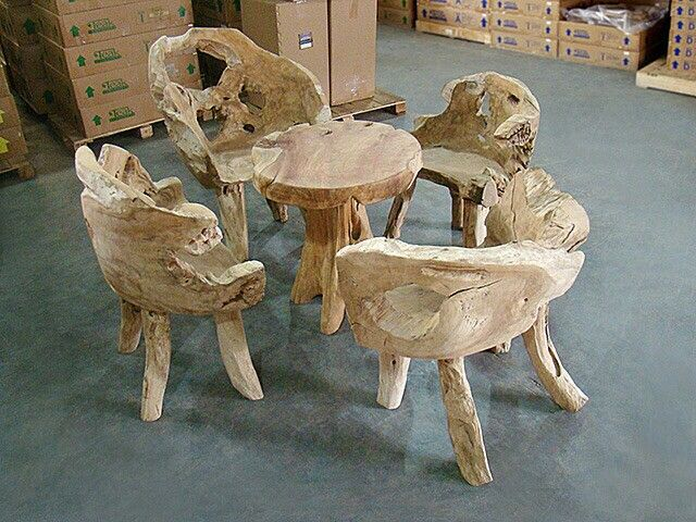 Single chair set Material from recycle teak root