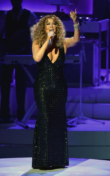 "Mariah Carey Photos - Singer/songwriter Mariah Carey performs during the launch of her residency ""MARIAH #1 TO INFINITY"" at The Colosseum at Caesars Palace on May 6, 2015 in Las Vegas, Nevada. - Mariah Carey Launches 'MARIAH #1 TO INFINITY' At Caesars Palace In Las Vegas"