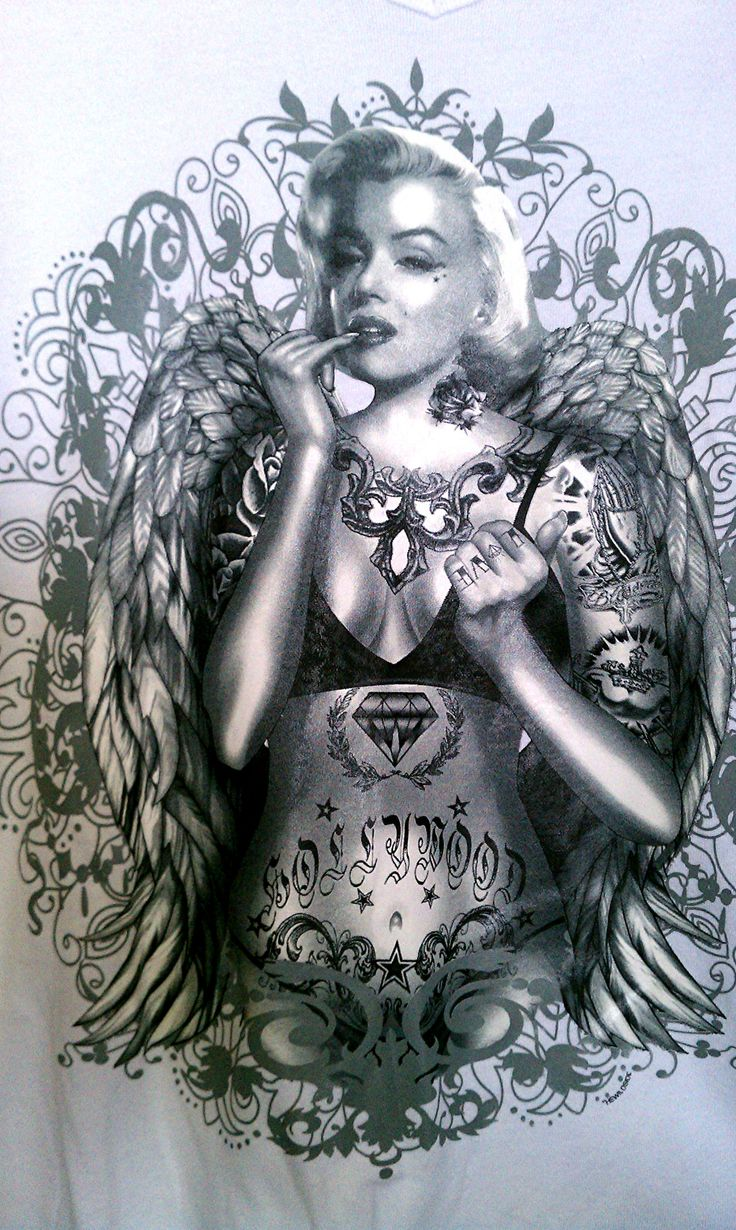 Marilyn Monroe With Tattoos Art Marilyn monroe angel wings hip