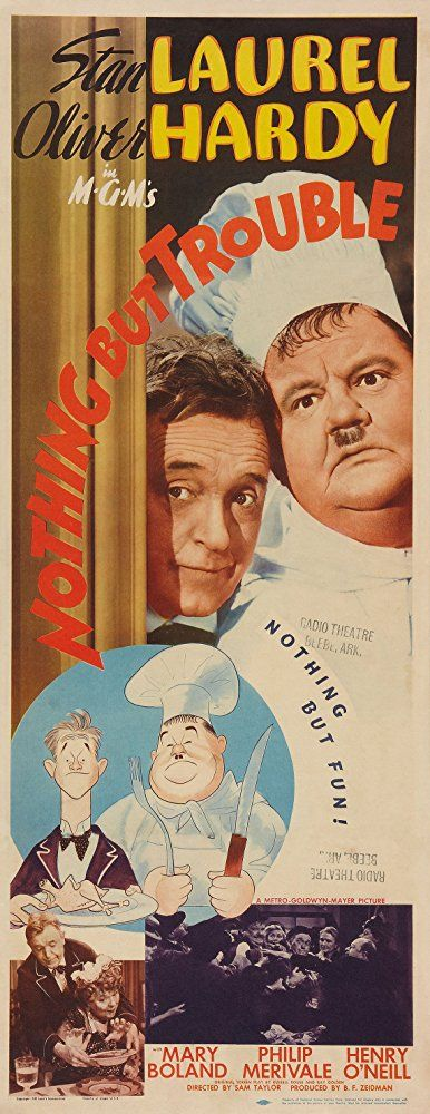 Oliver Hardy, Mary Boland, Stan Laurel, and Henry O'Neill in Nothing But Trouble (1944)