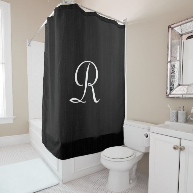 Black Faux Burlap Shower Curtain White Monogram Zazzle Com