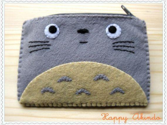 Totoro My Neighbour felt coin purse by HappyAkindo on Etsy, $10.50
