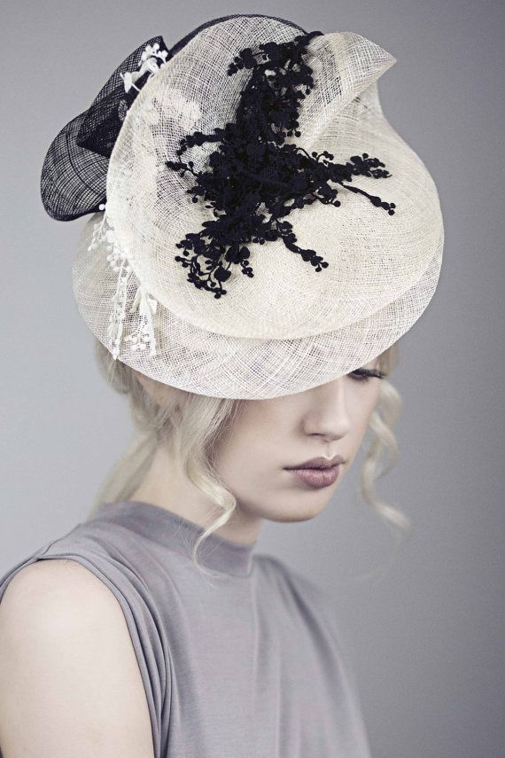 Races Fascinator Occasion Hat Black and White by MaggieMowbrayHats