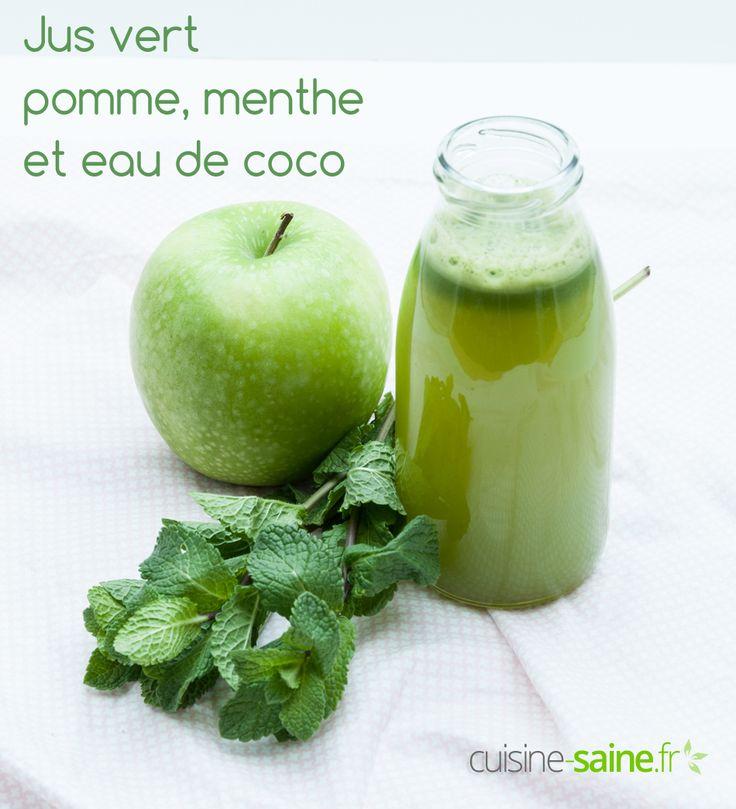 L'eau de coco et ses vertus ; Jus vert eau de coco, menthe et pomme verte