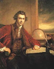 Oil painting by Joshua Reynolds of Joseph Banks who took part in Cook's 1st voyage. He was a naturalist and botanist, and brought unique specimen samples back from Australia to Europe.