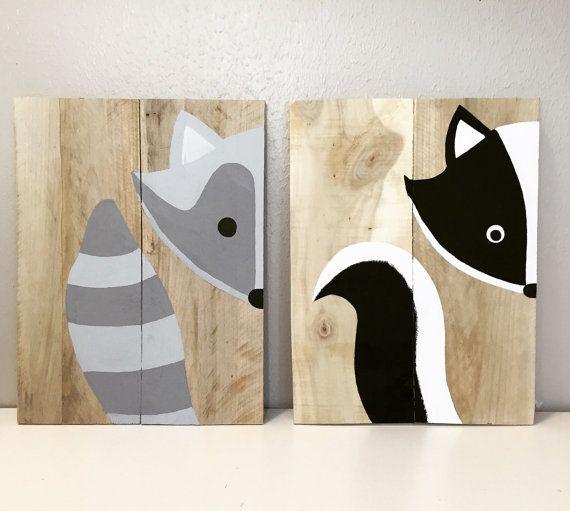 Set di 2 animali del bosco, bosco vivaio, segno di fox, vivaio forestale animali volpe, procione, bambino doccia dono, intelligente piccola volpe, picco un boo